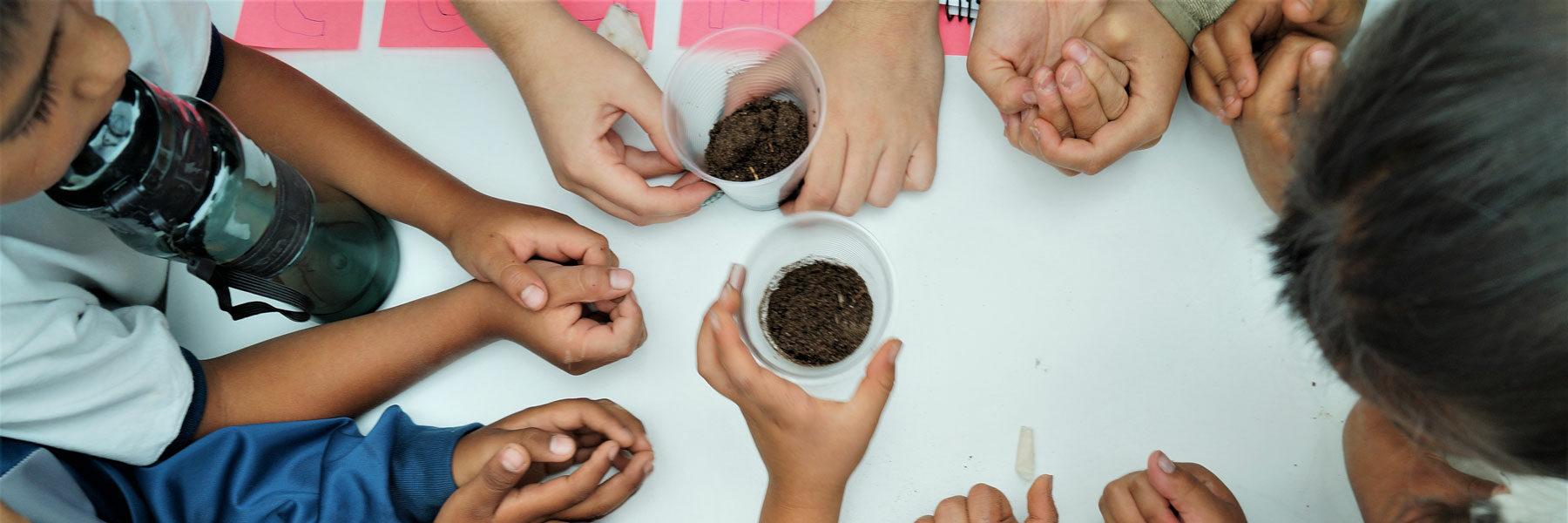 Niños alrededor de un vaso de café